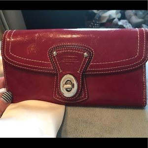 Coach Legacy Red Patent Turnlock Wallet